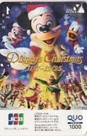"""JAPAN - Disney""""s Christmas, QUO Prepaid Card Y1000, Used - Natale"""