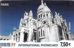 CARTE-PREPAYEE-FRANCE-365-7,50€-PARIS-SACRE COEUR-V°Sans Date- Gratté-TBE- - Prepaid Cards: Other