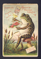 Frog Toad Mushroom, Puts Cologne On Bouquet, Bull Rushes, HOYT'S GERMAN COLOGNE USA - Victorian Trade Card VTC Chromo - Altri