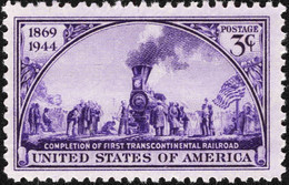 1944 3 Cents Trancontinental Railroad, Mint Never Hinged - Unused Stamps