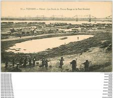 VIET NAM. Tonkin Hanoï. Porteurs D'eau Sur Les Bords Du Fleuve Rouge Et Pont Doumer 1924 - Vietnam