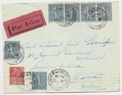 FRANCE SEMEUSE LIGNEE 1FR BANDE DE 4+1X2+50C FACCHI LETTRE COVER AVION CAMBRAI CHAMBRE DE COMMERCE 17.6.1931 POUR HANOI - 1903-60 Sower - Ligned