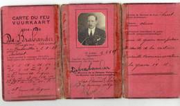Carte Du Feu - Vuurkaart  1914-1918 - Soldaat - Afgeleverd Aan De Brabander Eugène Clément - Né A Bruxelles 2-9-1887 - War 1914-18
