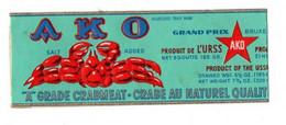 28136 Etiquette Boite Conserve AKO Crabe URSS Grade Crabmeat Krebsfleisch -Moscou - Autres