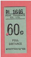 HONG KONG 1959 Peak Tramways Ticket , 60 Cents - Full Distance - Hongkong Tram BILLET DE TRAMWAY DE HONG KONG - World