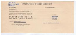 ESSONNE - MASSY - VILMORIN-ANDRIEUX S. A. - Attestation D'Ensemencement - Autres