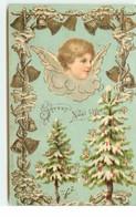 Carte Gaufrée - Joyeux Noël - Tête D'ange Au-dessus D'un Sapin Décoré - Other