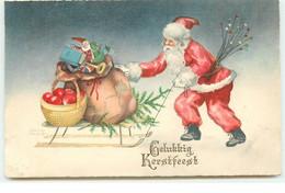 Gelukkig Kerstfeest - Père Noël Tirant Une Luge Remplie De Cadeaux - Other