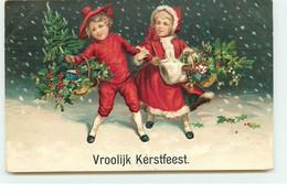 Carte Gaufrée - Vroolijk Kerstfeest - Deux Enfants Sous La Neige - Autres