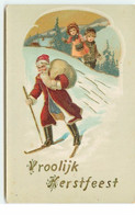 Vroolijk Kerstfeest - Enfants Regardant Le Père Noël Faisant Du Ski - Other