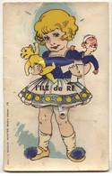 Carte à Système - L'ILE DE RE - Fillette Portant Un Ours En Peluche Et Une Poupée - Teddy Bear - Ile De Ré