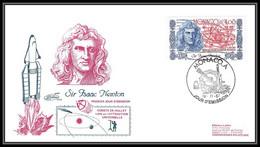 11964 Isaac Newton Fdc (premier Jour) 1987 Monaco Espace (space Raumfahrt) Lettre (cover Briefe) - Europe
