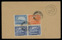 TREASURE HUNT [00627] Aden 1949 Air Mail Cover To Germany Bearing KGVI Pictorials 1a+2 1/2a Pair+8a - Aden (1854-1963)