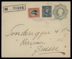 TREASURE HUNT [00635] Chile 1912 Columbus 5c Grey Postal Envelope Sent Reg. To Switzerland, Up-rated With 5c+20c - Chili