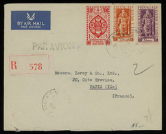 TREASURE HUNT [00636] French India 1949 Reg. Air Mail Cover From Pondicherry To Paris With Colourful Franking, Uncommon - Lettres & Documents