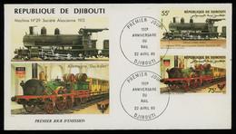 TREASURE HUNT [00643] Djibouti 1985 Locomotives Issue On Illustrated FDC, Railway, Der Adler - Djibouti (1977-...)