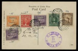 """TREASURE HUNT [00660] Costa Rica 1912 Picture Post Card (""""Receiving Banans"""" Scene), Multi-colour, Multi-issue Franking - Costa Rica"""