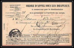 3916 France Guerre War 1914/1918 Ordre D'appel Sous Les Drappeaux Limoges Classe 1892 - Guerre De 1914-18