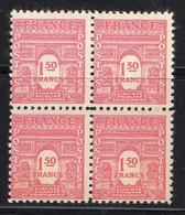 FRANCE ( POSTE ) : SPINK/MAURY  N°  625  X  4  TIMBRES NEUFS SANS TRACE DE CHARNIERE .  A  SAISIR . - 1944-45 Arco Del Triunfo