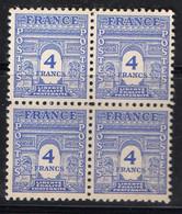 FRANCE ( POSTE ) : SPINK/MAURY  N°  627  X  4  TIMBRES NEUFS SANS TRACE DE CHARNIERE .  A  SAISIR . - 1944-45 Arco Del Triunfo