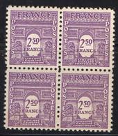 FRANCE ( POSTE ) : SPINK/MAURY  N°  626  X  4  TIMBRES NEUFS SANS TRACE DE CHARNIERE .  A  SAISIR . - 1944-45 Arco Del Triunfo