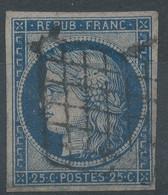 Lot N°62540   N°4a Bleu Foncé, Oblitéré Grille De 1849 - 1849-1850 Ceres