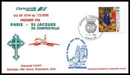 0103 Concorde St Acques-de-Compostelle Espagne (spain) Paris 07/05/1988 Lettre Premier Vol First Flight Airmail Cover - Concorde