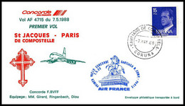 1245 Concorde 1988 St Jacques De Compostelle Paris Espagne Spain Lettre Premier Vol First Flight Airmail Cover Luftpost - Concorde