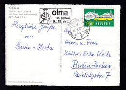 """SCHWEIZ. AUTOMOBIL-POSTBUREAU 3 10.X.58 Auf AK (Gruss Von Der """"OLMA"""" St. Gallen) - Unclassified"""