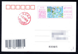 China Harbin Postage Machine Meter: Myths Legends-- Nezha Conquers The Dragon King - Lettres & Documents
