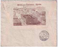 """1904 - ITALIE - ENVELOPPE PUB DECOREE """"HOTEL DES NATIONS"""" De ROME => EYMOUTIERS - Marcofilía"""