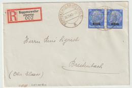 Sk1016 - ROPPENZWEILER - 1940 - Tarif 2 X 25 Pfg - Recommandé - ROPPENTZWILLER - Hindenburg Surchargé Elsass - - Alsace Lorraine