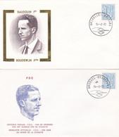 Enveloppes FDC 1839 Roi Baudouin Chiffre Sur Lion Héraldique Et Banderolle - 1971-80
