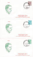 Enveloppes FDC 1958 à 1960 Roi Baudouin Chiffre Sur Lion Héraldique Et Banderolle - 1971-80