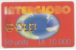 Scheda Carta Telefonica Internazionale INTERGLOBO GOLD, 50 UNITS, Lit. 10.000, Usata, 31 Dicembre 2000 - Unclassified