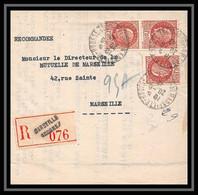 """109003 Lettre Recommandé Cover Bouches Du Rhone N°517 Pétain Marseille Bourse """"""""Bches"""" - 1921-1960: Periodo Moderno"""