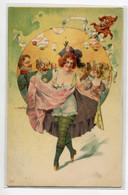 ILLUSTRATEUR KRATKI  Danseuse Montrant Ses Dessous Fete  1900   ART NOUVEAU   Dos Non Divisé   D07 2019 - Andere Illustrators