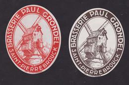2 Ancienne étiquette Alcool France Bière Brasserie Paul Grondel Moulin - Sin Clasificación