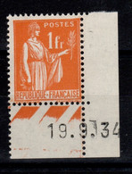 YV 286a N** Paix Type I , Petit Coin Daté , Cote 9,30+ Euros - Unused Stamps