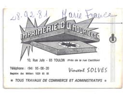 IMPRIMERIE DU MOURILLON  RUE JULY TOULON  VINCENT SOLVES 1970 - Small : 1961-70