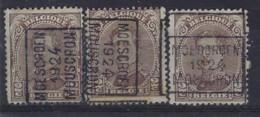 Koning Albert I Nr. 136 Type III Voorafgestempeld Nr. 3246 A + B + C  MOESCROEN  1924  MOESCRON ; Staat Zie Scan ! - Roller Precancels 1920-29