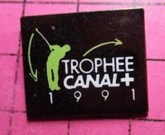 811h Pin's Pins / Beau Et Rare / THEME : SPORTS / GOLF TROPHEE CANAL + 1991 Chaine De Télé Qui Sert La Soupe à MLP - Golf