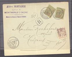 0le  030  -  France  :  Yv 96 (x2) + 85  (o)  Lettre Recommandée E Montmerle Pour Trévoux - 1876-1898 Sage (Type II)