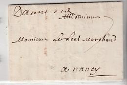 Lettre Amiens Pour Nancy, 1701 - 1701-1800: Vorläufer XVIII