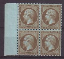 FRANCE : N° 19 B . BLOC DE 4 BDF . 3 EX **  . SIGNE BRUN . 1865 .  ( CATALOGUE YVERT ) . - 1849-1876: Klassik