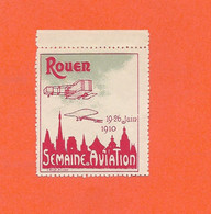 Erinnophilie Vignette ROUEN 19 / 26 Juin 1910 Semaine D'Aviation Rouge  2scans...G - Aviation