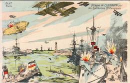 MILITARIA Guerre 14-18  Attaque De CUXHAVEN  Par Les Hydravions Britanniques  ........ Carte D'illustrateur - Guerre 1914-18