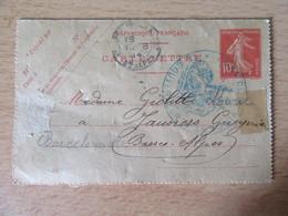 Entier Semeuse 10c Oblitéré Par Cachet Du Gouverneur Du Port De St Vincent - Voyagé Le 19 Août 1914 - Cartes-lettres