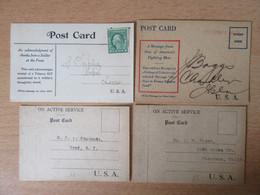 Etats-Unis - 4 Cartes En Franchise Militaire (Soldier's Mail) - Une Avec Un Timbre Perforé - Marcophilie