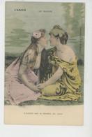 """FEMMES - FRAU - LADY - Jolie Carte Fantaisie Couple Femmes """"L'AMITIÉ """" - Le Baiser (sein Nu) - Edit. G.I.D. NANTES - Femmes"""
